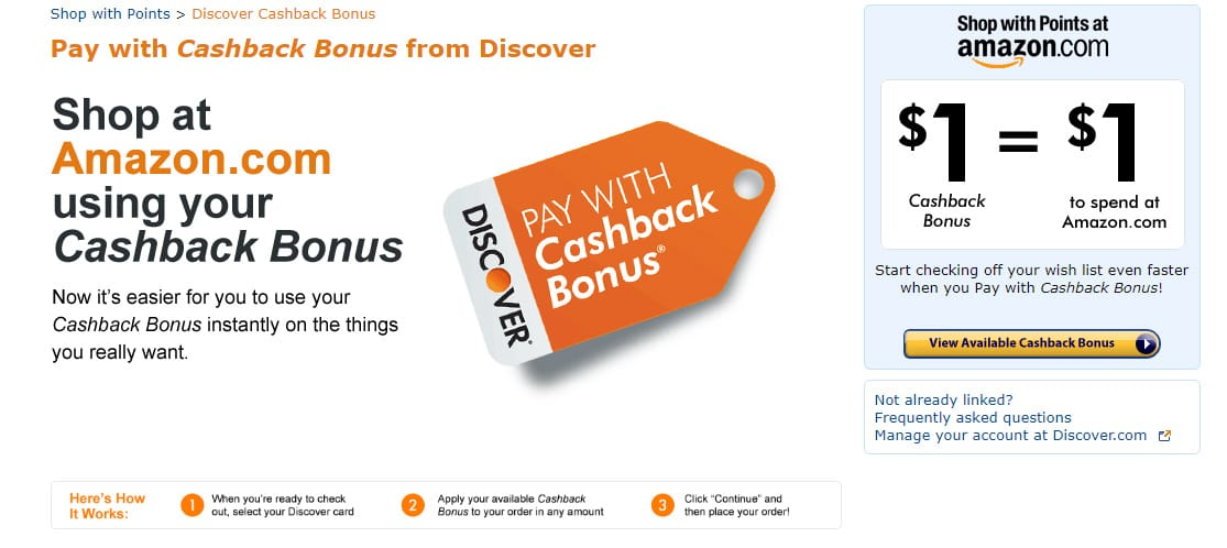 Screenshot of Discover Cashback Landing Page on Amazon.com