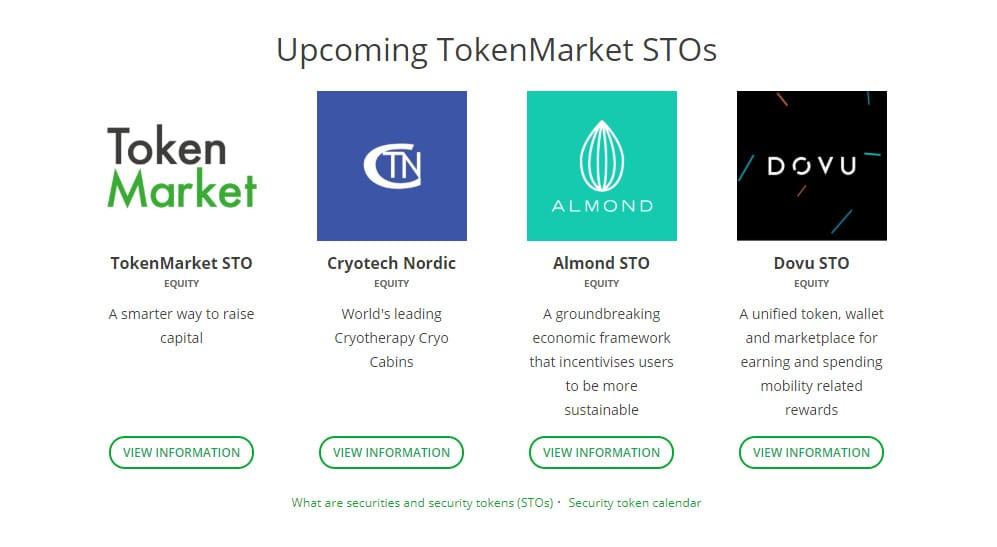 Screenshot of the TokenMarket website
