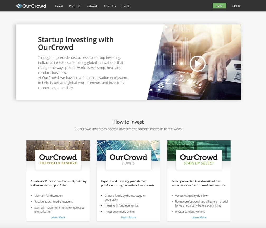 Screenshot of the OurCrowd website