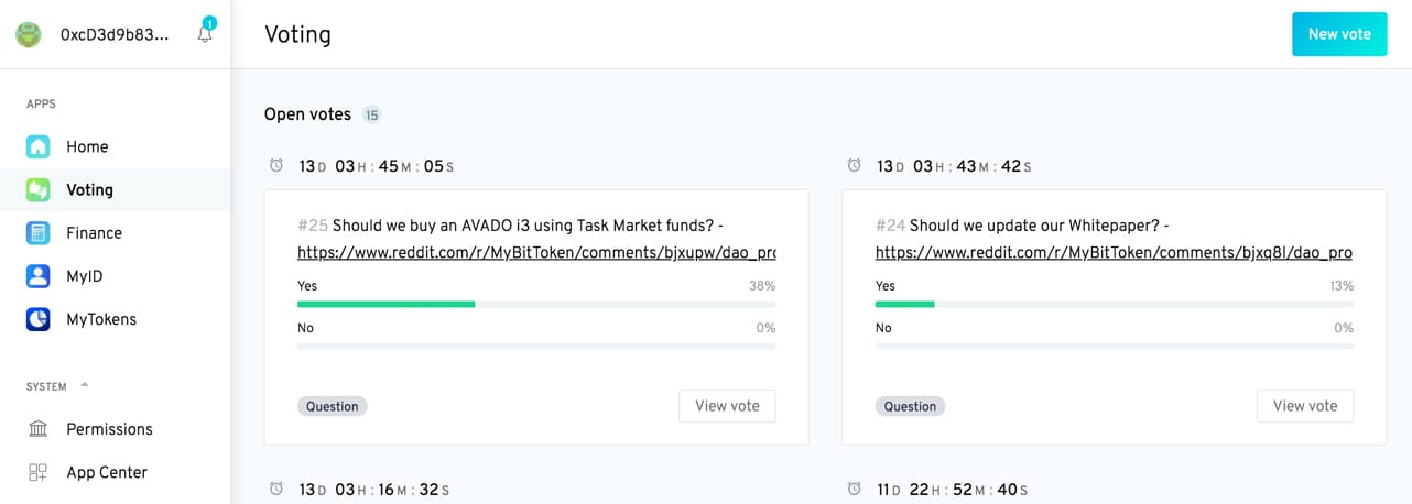 Screenshot of MyBit DAO dashboard