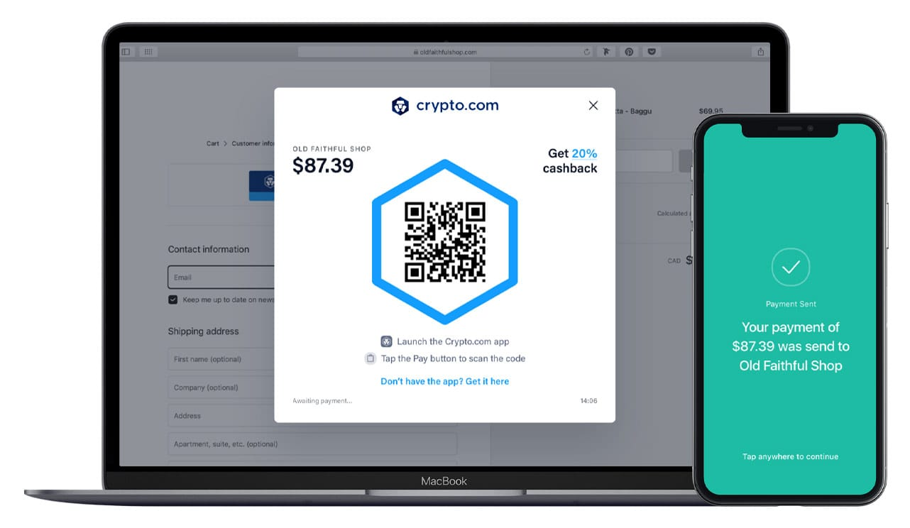 Photo of Crypto.com Pay on laptop and mobile device