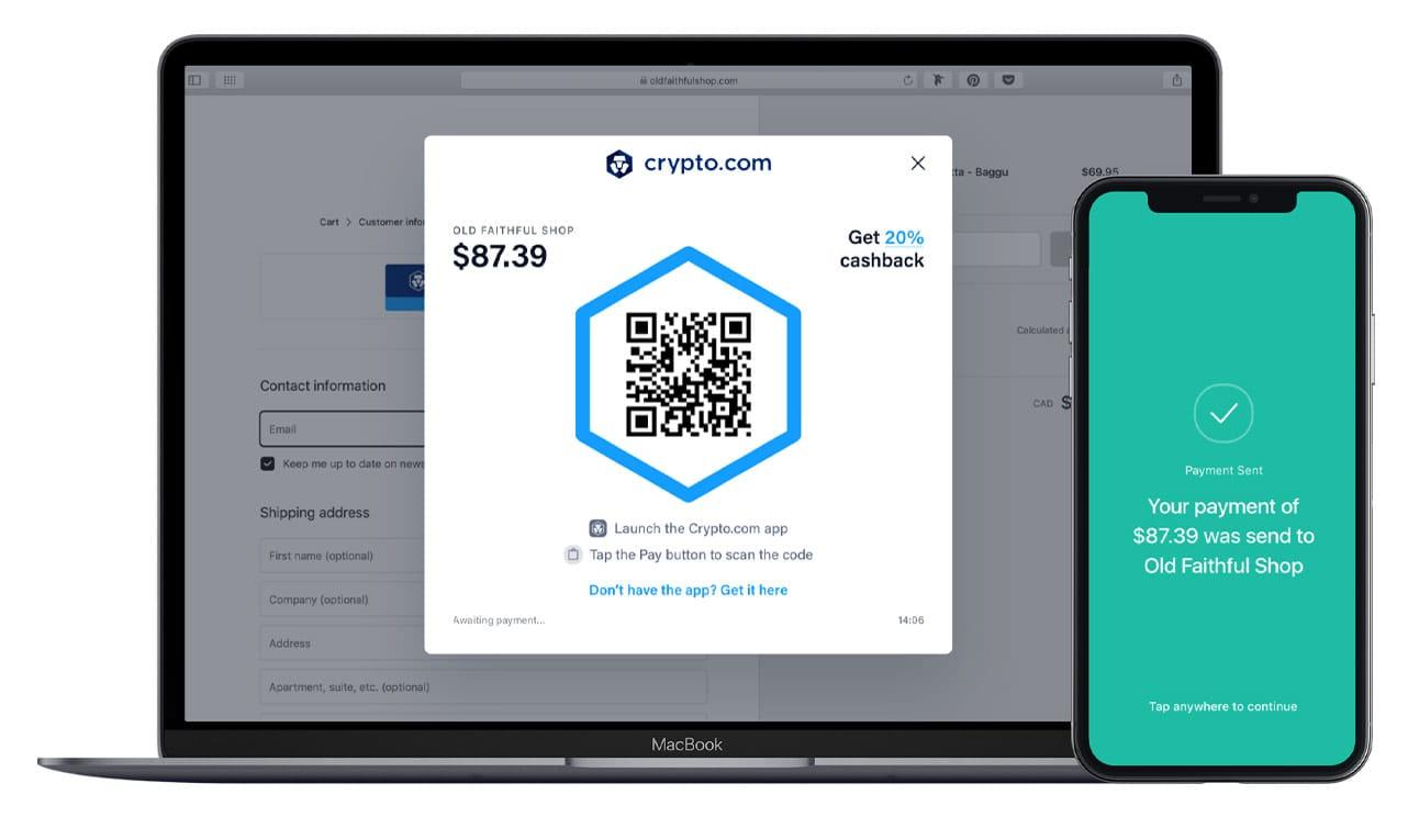 Photo de Crypto.com Payer sur un ordinateur portable et un appareil mobile