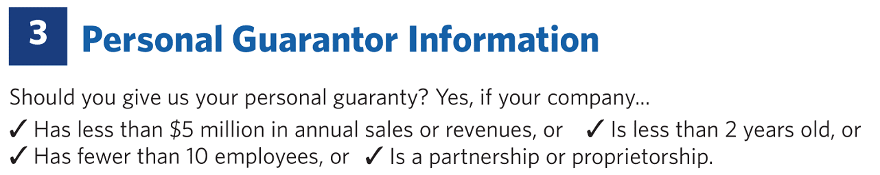 Screenshot of Personal Guarantee Requirement for Sam's Club Business Card