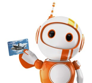 Photo of Logix FCU Mascot, Robix, Holding a Credit Card