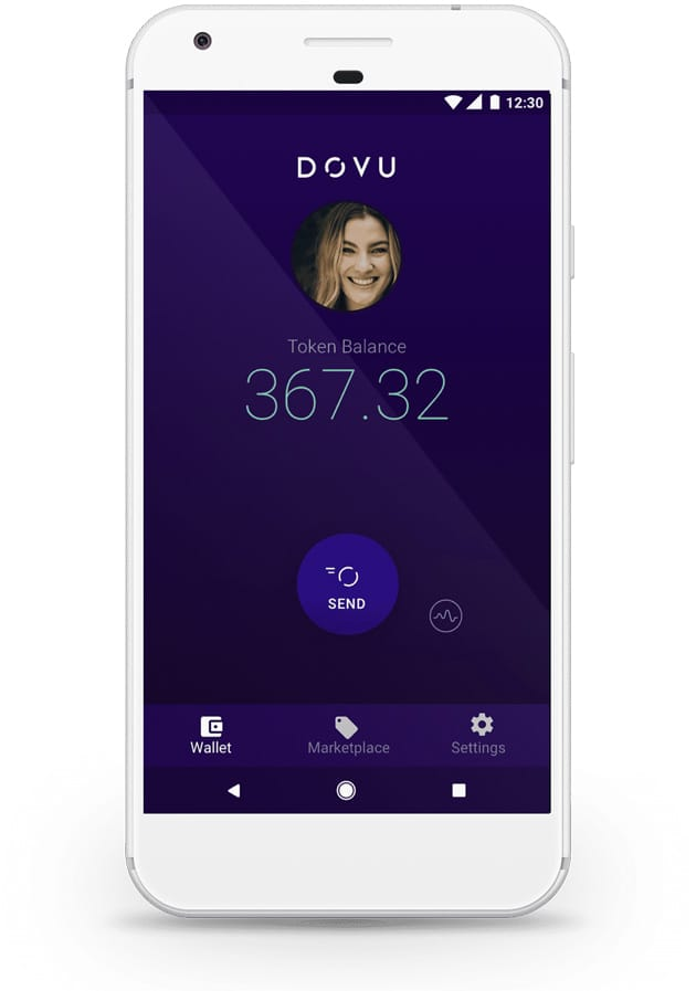 Screenshot of the DOVU wallet on mobile device