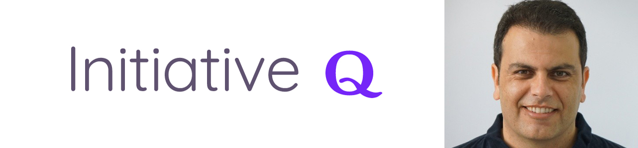 Initiative Q logo and photo of Founder Saar Wilf