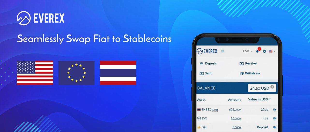 Screenshot of Everex platform stablecoin fiat swap banner