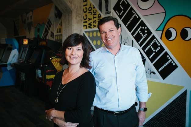 Lynne Laube and Scott Grimes