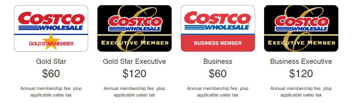 Screenshot of Costco's Membership Prices