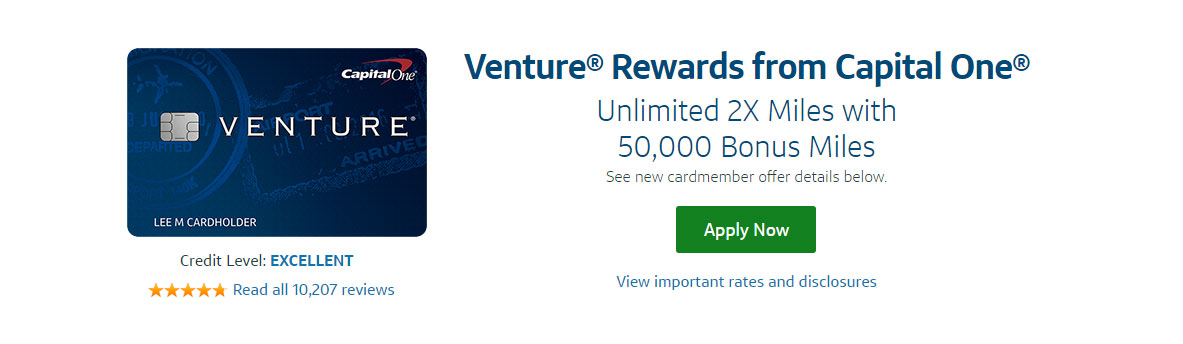 Screenshot of the Capital One Venture Card Landing Page