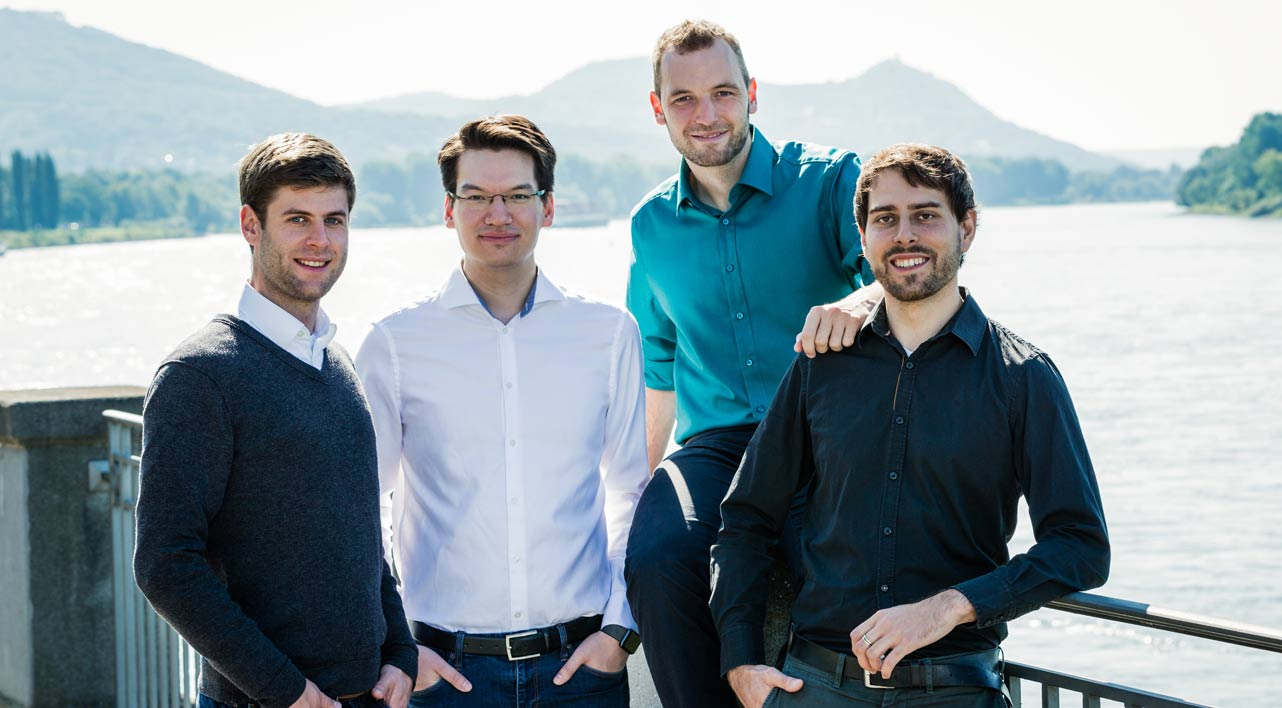 Photo of the Skymatic founding team including Tobias Hagemann