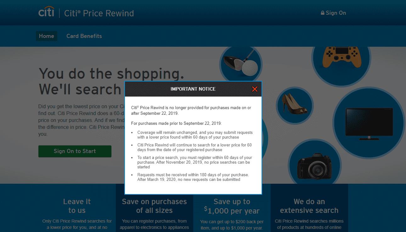 Screenshot of the Citi Price Rewind website