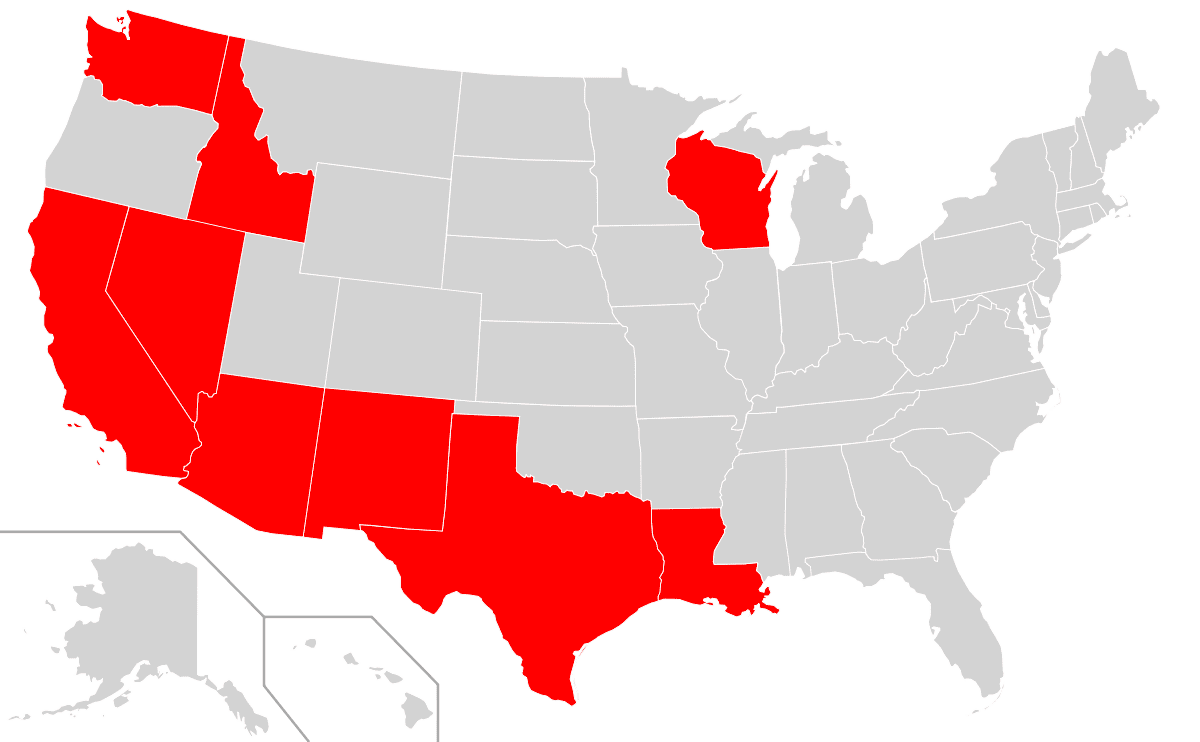 Community Property States in the U.S. — Source: Wikipedia.com