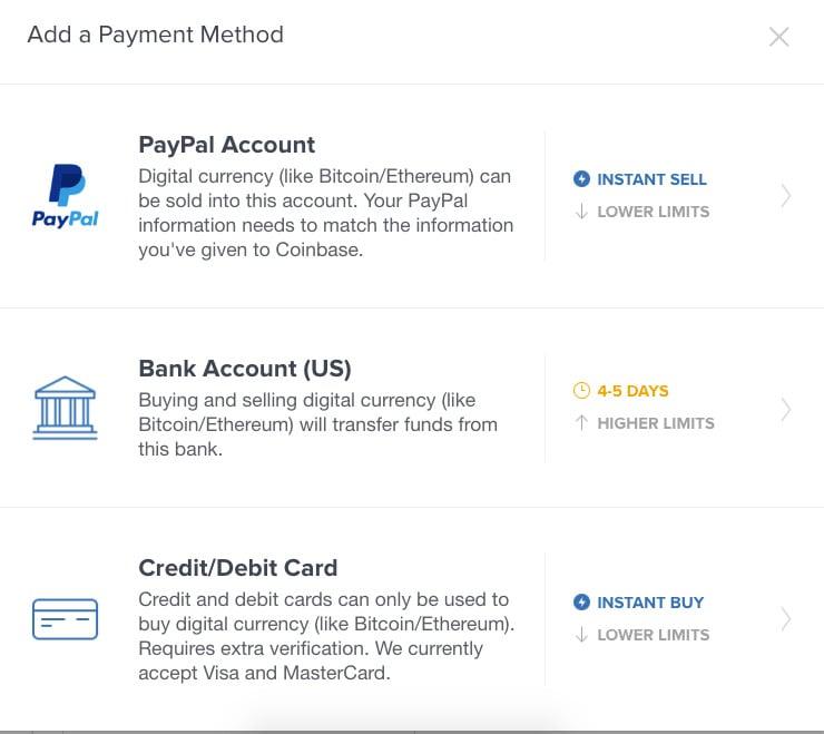 Coinbase Add a Payment Method Screenshot