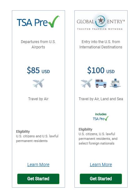 TSA PreCheck™ and Global Entry Price Comparison